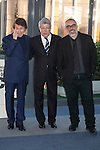 Singer Raphael, producer Enrique Cerezo and director Alex de la Iglesia pose during `Mi gran noche´ film presentation in Madrid, Spain. February 20, 2015. (ALTERPHOTOS/Victor Blanco)