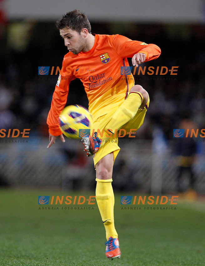 FC Barcelona's Jordi Alba during La Liga match.January 19,2013. (ALTERPHOTOS/Acero) .San Sebastian 19/01/2013.Football Calcio 2012/2013 La Liga Spagna.Real Sociedad Vs Barcellona .Foto Alterphotos / Insidefoto .ITALY ONLY