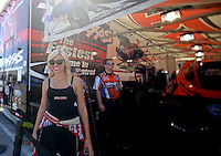 Apr. 5, 2013; Las Vegas, NV, USA: (Editors note: Special effects lens used in creation of this image) NHRA funny car driver Courtney Force during qualifying for the Summitracing.com Nationals at the Strip at Las Vegas Motor Speedway. Mandatory Credit: Mark J. Rebilas-