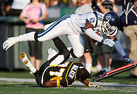 Jul 7, 2007; Hamilton, ON, CAN; Toronto Argonauts defensive back (28) Byron Parker levels Hamilton Tiger-Cats wide receiver (77) Jo Jo Walker, forcing an incomplete pass during the first quarter of the 2007 season home opener at Ivor Wynne Stadium. The Argos defeated the Tiger-Cats 30-5. Mandatory Credit: Ron Scheffler, Special to the Spectator.