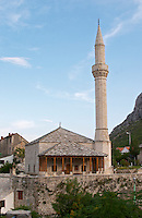 Modern looking mosque in the Jusovina street near riva Cuprija bridge. Historic town of Mostar. Federation Bosne i Hercegovine. Bosnia Herzegovina, Europe.