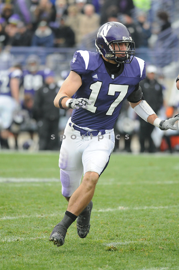 BRAD PHILLIPS, of the Northwestern Wildcats in action during the Wildcats game against the Indiana Hoosiers on October 24, 2009 in Evanston, IL. Northwestern won 29-28.