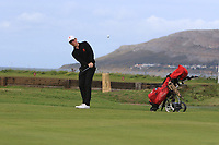 Archie Davies from Wales on the 3rd green during Round 2 Singles of the Men's Home Internationals 2018 at Conwy Golf Club, Conwy, Wales on Thursday 13th September 2018.<br /> Picture: Thos Caffrey / Golffile<br /> <br /> All photo usage must carry mandatory copyright credit (&copy; Golffile | Thos Caffrey)