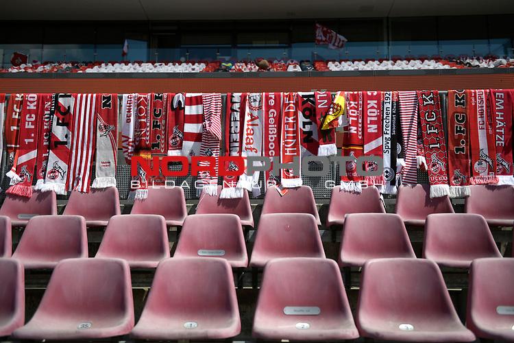 nph00351:  Fanschals bedecken die Gelaender auf den Tribuenen.<br /> Sport: Fussball: 1. Bundesliga: Saison 19/20: 26.Spieltag: 1.FC KOELN-FSV MAINZ 05,17.05.2020.<br />  <br /> Nur für journalistische Zwecke! Only for editorial use!<br /> Gemäß den Vorgaben der DFL Deutsche Fußball Liga ist es untersagt, in dem Stadion und/oder vom Spiel angefertigte Fotoaufnahmen in Form von Sequenzbildern und/oder videoähnlichen Fotostrecken zu verwerten bzw. verwerten zu lassen. DFL regulations prohibit any use of photographs as image sequences and/or quasi-video.<br /> <br /> <br />  <br /> Foto: Anke Waelischmiller/SVEN SIMON/POOL/via Meuter/nordphoto