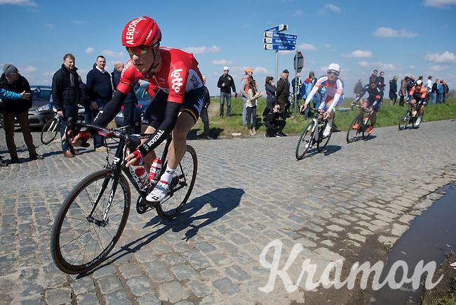 Lars Bak (DEN/Lotto-Soudal) in the leading breakaway over the Holleweg cobbles<br /> <br /> 99th Ronde van Vlaanderen 2015