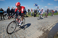 Lars Bak (DEN/Lotto-Soudal) in the leading breakaway over the Holleweg cobbles<br /> <br /> 99th Ronde van Vlaanderen 2015