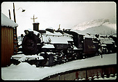 D&amp;RGW #489 beside Durango turntable in the snow.<br /> D&amp;RGW  Durango, CO