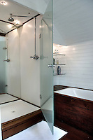 A walk in shower, with its large glass door, is one of the few overtly modern elements in the house