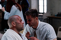 Twelve Monkeys (1995) <br /> Brad Pitt &amp; Bruce Willis<br /> *Filmstill - Editorial Use Only*<br /> CAP/KFS<br /> Image supplied by Capital Pictures