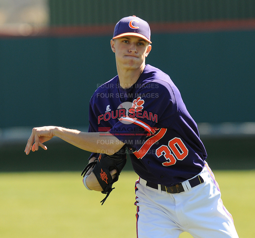 LHP Will Lamb (30) of the Clemson Tigers prior to a game against the Wright State Raiders Saturday, Feb. 27, 2011, at Doug Kingsmore Stadium in Clemson, S.C. Photo by: Tom Priddy/Four Seam Images