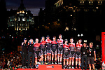 Trek-Segafredo team tribute to El Pistolero Alberto Contador (ESP) racing his last Grand Tour at the end of the final Stage 21 of the 2017 La Vuelta, running 117.6km from Arroyomolinos to Madrid, Spain. 10th September 2017.<br /> Picture: Unipublic/&copy;photogomezsport | Cyclefile<br /> <br /> <br /> All photos usage must carry mandatory copyright credit (&copy; Cyclefile | Unipublic/&copy;photogomezsport)