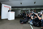 May 8, 2015, Tokyo, Japan - Akio Toyoda, president of Japan's Toyota Motor Corp., speaks during a news conference at its head office in Tokyo on Friday, May 8, 2015. The world's top-selling automaker forecasts operating profit will edge up 1.8 percent this year to 2.80 trillion yen. (Photo by Yohei Osada/AFLO)