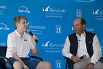 Ian Gilligan (15 years old) talks with Chris Hoff,  Barracuda Tournament Director during the Barracuda Championship at Montreux Golf Course on Sunday, August 5, 2018.