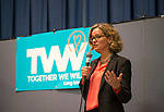 Wyandanch, New York, USA. March 26, 2017. LAURA CURRAN, Nassau County Legislator (Democrat - District 5) speaks at Politics 101 event, the first of series of activist training workshops for members of TWW LI, the Long Island affiliate of national Together We Will. Curran is a Democratic candidate for Nassau County Executive. One of the 5 speakers referred to groups such as TWWLI as activist pop-up groups.