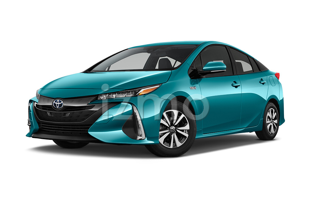 Stock pictures of low aggressive front three quarter view of 2018 Toyota Prius-Prime Plus 5 Door Hatchback Low Aggressive