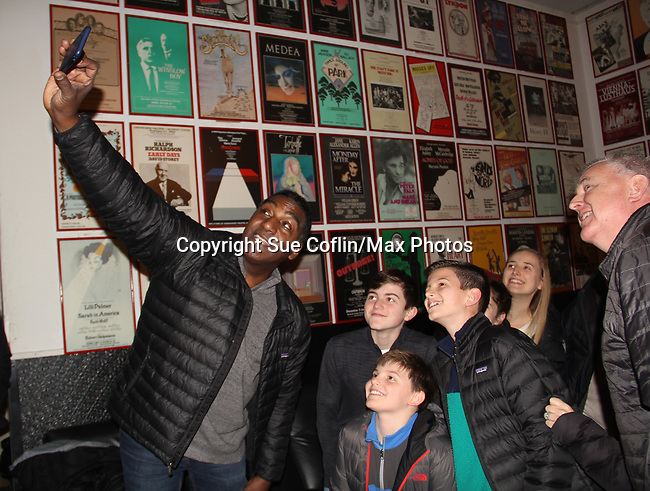 "All My Children's Norm Lewis stars in the musical  The Music Man as ""Harold Hill"" and poses with castmate Sam Middleton ""Winthrop Paroo"" (front) at the Eisenhower Theater at the  John F. Kennedy Center for the Performing Arts, Washington D.C. in a sold out run and photos were taken on February 10, 2019 in the green room.  (Photo by Sue Coflin/Max Photo)"