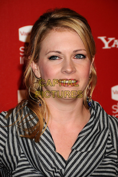 MELISSA JOAN HART.US Weekly's Hot Hollywood Party 2009 held at Voyeur, West Hollywood, California, USA..November 18th, 2009.headshot portrait grey gray black striped stripes cowel neck.CAP/ADM/BP.©Byron Purvis/AdMedia/Capital Pictures.