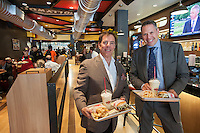 "Reise Organization Chairman and CEO Dennis Riese, left,  and Fatburger CEO Andy Wiederhorn, right,  at the new Fatburger restaurant in the Murray Hill neighborhood of  New York on its grand opening day, Tuesday, June 11, 2013. The popular West Coast chain, which has a cultish following, opened its first New York outpost  bringing their grilled to order menu with their signature collection of toppings to the East Coast. The fast casual restaurant is popular with celebrities and a loyal fan base and started in Hollywood in 1952.  the company uses ""The Last Great Hamburger Stand""  as their motto and the New York restaurants, a total of ten are planned, will be run by the franchisee, the Riese Organization. (© Richard B. Levine)"