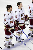Brian Gibbons (BC - 17), Joe Whitney (BC - 15) - The Boston College Eagles defeated the University of Massachusetts-Amherst Minutemen 2-1 (OT) on Friday, February 26, 2010, at Conte Forum in Chestnut Hill, Massachusetts.