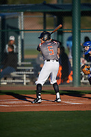 Alexander Jackson (5) of Venus High School in Venus, Texas during the Baseball Factory All-America Pre-Season Tournament, powered by Under Armour, on January 13, 2018 at Sloan Park Complex in Mesa, Arizona.  (Mike Janes/Four Seam Images)