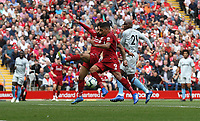 Liverpool's Mohamed Salah and Roberto Firmino fail to connect with a cross<br /> <br /> Photographer Rob Newell/CameraSport<br /> <br /> The Premier League - Liverpool v West Ham United - Sunday August 12th 2018 - Anfield - Liverpool<br /> <br /> World Copyright &copy; 2018 CameraSport. All rights reserved. 43 Linden Ave. Countesthorpe. Leicester. England. LE8 5PG - Tel: +44 (0) 116 277 4147 - admin@camerasport.com - www.camerasport.com