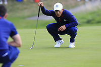 Thorbjorn Olesen Team Europe on the 8th green during Friday's Fourball Matches at the 2018 Ryder Cup, Le Golf National, Iles-de-France, France. 28/09/2018.<br /> Picture Eoin Clarke / Golffile.ie<br /> <br /> All photo usage must carry mandatory copyright credit (© Golffile | Eoin Clarke)