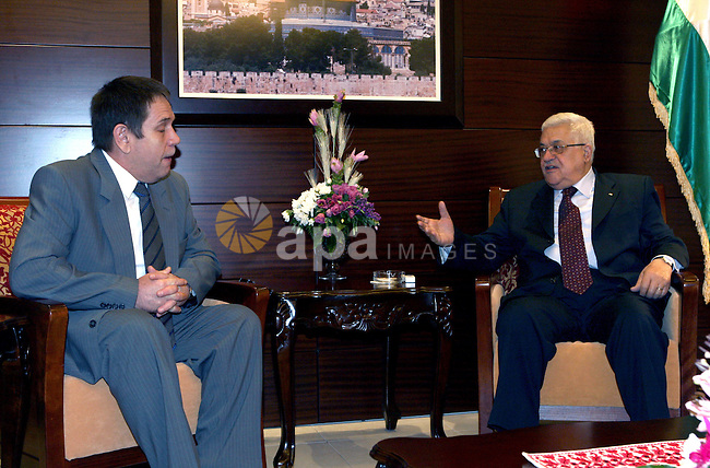 Palestinian President, Mahmoud Abbas (Abu Mazen) during a meeting with the Russian ambassador in the West Bank town of Ramallah on 11 August 2010.  photo by Omar Rashidi