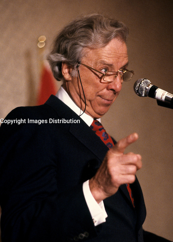 Montreal (QC) CANADA, April 1988 File Photo of<br /> <br /> Robert Campeau, at the Canadian Club of Montreal shortly after his purchase of (US retail chain) Federated Stores.<br /> <br /> <br /> In1980 he unsuccessfully sought control of a leading Canadian financial institution, the Royal Trust<br /> , gained control of the United States-based Allied Stores, the third largest retailer in the country, in 1986<br /> .He then took over Federated Department Stores (1988), which included the prestigious Bloomingdale's department store<br />  .To pay for these new assets he sold others and borrowed heavily. As a result of his debts, he was forced first to auction off Bloomingdale's and then to step down as head of his corporation, sharing control with Olympia &amp; York.<br /> <br /> As of April 2007, the 83 year old Campeau is now officially broke after a 18 Million $ (Can) divorce from his German born wife Ilse Luebbert who now live in Salzbourg.<br /> <br /> photo (c)  Pierre Roussel - Images Distribution