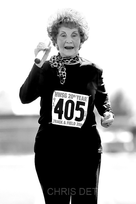 St.George, UT--10/11/06--2:21:21 PM-&amp;#xA;Verla Shippen Ball, 91, of Idaho Falls, Id,. runs the final leg  of the 4x100m relay race held at Snow Canyon High School. Ball and her three other sisters, Nelda Shippen Reed, 80, Ruby Shippen Call, 83, and Ava Shippen Hessing, 85, set a world record in the event--that was run all by octogenarians. -- with a time of 3:51.85.&amp;#xA;&amp;#xA;*****&amp;#xA;//////SUMMARY from http://seniorgames.net/overview.html //////&amp;#xA; &amp;#xA;The HUNTSMAN WORLD SENIOR GAMES, as it is  known today, began in 1987 as the World Senior Games, an international senior sports competition. n 1989 Jon M. Huntsman, Chairman of the Huntsman Corporation, became the Games' principal sponsor after recognizing that the Games not only fostered lifetime fitness, but also expanded Utah's economic vitality.&amp;#xA;&amp;#xA;List of Games played:&amp;#xA;&amp;#xA;Basketball&amp;#x9;&amp;#xA;Bowling&amp;#x9;&amp;#xA;Bridge&amp;#x9;&amp;#xA;Cowboy Shoot&amp;#x9;&amp;#xA;Cycling&amp;#xA;Golf&amp;#x9;&amp;#xA;Horseshoes&amp;#x9;&amp;#xA;Lawn Bowls&amp;#x9;&amp;#xA;Mountain Biking&amp;#x9;&amp;#xA;Pickleball&amp;#xA;Racewalking&amp;#x9;&amp;#xA;Racquetball&amp;#x9;&amp;#xA;Road Races&amp;#x9;&amp;#xA;Softball&amp;#x9;&amp;#xA;Square Dance&amp;#xA;Swimming&amp;#x9;&amp;#xA;Table Tennis&amp;#x9;&amp;#xA;Tennis&amp;#x9;&amp;#xA;Track &amp; Field&amp;#x9;&amp;#xA;Triathlon&amp;#xA;Volleyball&amp;#x9;&amp;#xA;Walking Tours&amp;#xA;&amp;#xA;Chris Detrick/Salt Lake Tribune&amp;#xA;File #_2CD7053&amp;#xA;&amp;#xA;<br />
