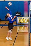 18 October 2015: Yeshiva University Maccabee Defensive Specialist and Outside Hitter Carol Jacobson, a Senior from Seattle, WA, warms up prior to a game against the College of Mount Saint Vincent Dolphins at the Peter Sharp Center, in Riverdale, NY. The Dolphins defeated the Maccabees 3-0 in the NCAA Division III Women's Volleyball Skyline matchup. Mandatory Credit: Ed Wolfstein Photo *** RAW (NEF) Image File Available ***