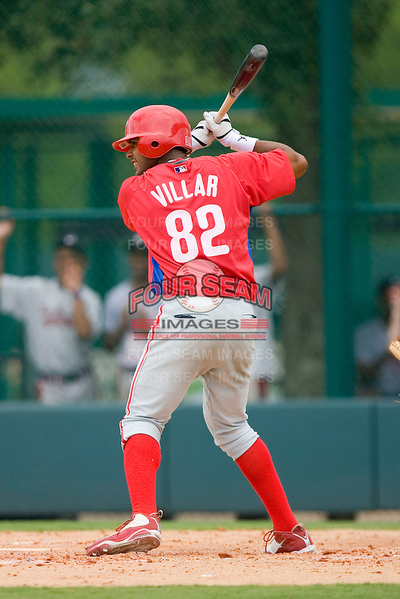 Jonathan Villan #82 of the GCL Phillies at bat versus the GCL Braves at Disney's Wide World of Sports Complex, July 13, 2009, in Orlando, Florida.  (Photo by Brian Westerholt / Four Seam Images)