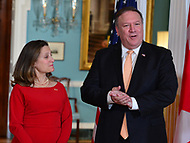 Washington, DC - May 11, 2018: U.S. Secretary of State Mike Pompeo meets with Canadian Foreign Minister Chrystia Freeland at the Department of State in Washington, D.C. May 11, 2018.  (Photo by Don Baxter/Media Images International)