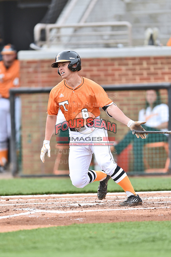 Tennessee Volunteers third baseman Jeff Moberg (6) swings at a pitch during a game against the Georgia Bulldogs at Lindsey Nelson Stadium March 21, 2015 in Knoxville, Tennessee. The Bulldogs defeated the Volunteers 12-7. (Tony Farlow/Four Seam Images)