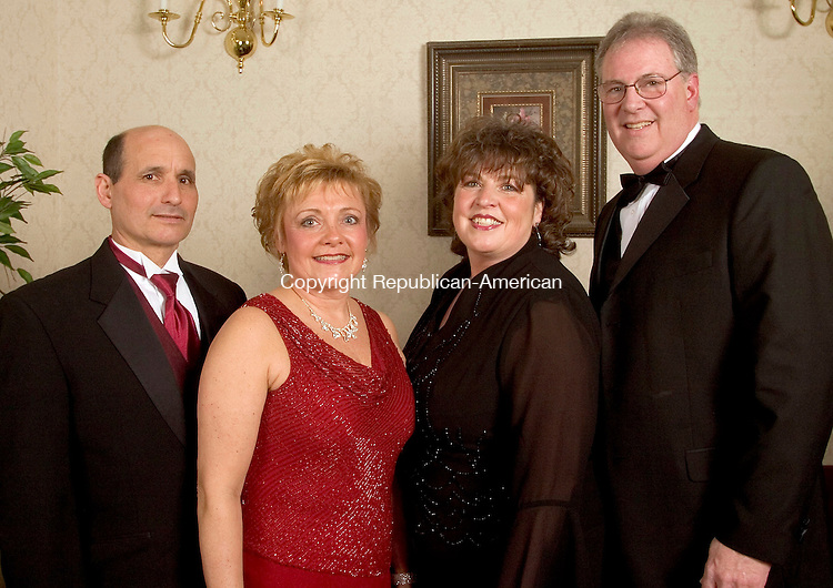 SOUTHINGTON, CT- 05 FEBRUARY 2005-020505JS06--Michael Forcucci and his wife, Committee Chairperson Bonnie Forcucci, of Cheshire, with Committee Chairperson Janet Weber and her husband Bob Weber of Burlington at the Saint Mary's Hospital Foundation's 14th annual gala Saturday at the Aqua Turf in Southington. The theme for this year's event was 'Young at Heart' with procedes to benefit Saint Mary's advanced cardiac care program.  -- Jim Shannon Photo--Aqua Turf; Giraldi; Naugatuck; Saint Mary's Hospital; Michael Forcucci and Bonnie Forcucci, Janet Weber, Bob Weber are CQ