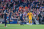 Atletico de Madrid's Gabi and Juanfran and FC Barcelona Neymar during Champions League 2015/2016 Quarter-Finals 2nd leg match. April 13, 2016. (ALTERPHOTOS/BorjaB.Hojas)