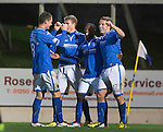 St Johnstone v Motherwell......27.10.13      SPFL<br /> Nigel Hasselabink celebrates his goal with David Wotherspoon, Stevie May and Gary McDonald<br /> Picture by Graeme Hart.<br /> Copyright Perthshire Picture Agency<br /> Tel: 01738 623350  Mobile: 07990 594431