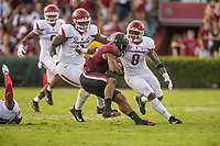 Hawgs Illustrated/BEN GOFF <br /> McTelvin Agim, Arkansas defensive end, and De'Jon Harris (8), Arkansas linebacker, tackle Rico Dowdle, South Carolina running back, in the second quarter Saturday, Oct. 7, 2017, at Williams-Brice Stadium in Columbia, S.C.