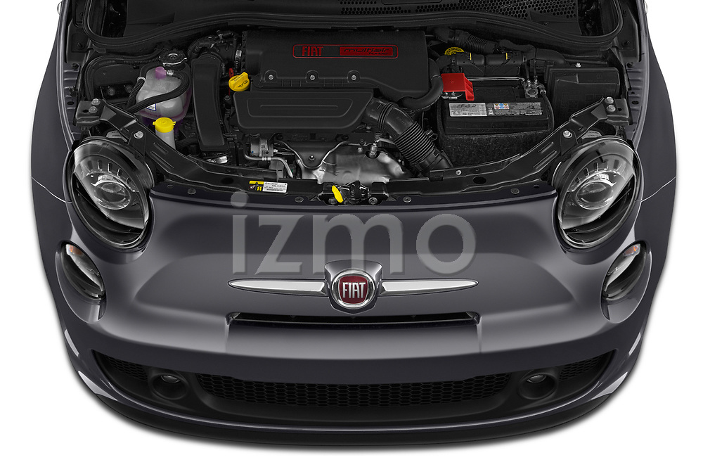 Car Stock 2019 Fiat 500 Pop 3 Door Hatchback Engine  high angle detail view