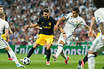 Yannick Ferreira Carrasco of Atletico de Madrid holds off pressure from  Carlos Henrique Casemiro of Real Madrid  during the match of Champions League between Real Madrid and Atletico de Madrid at Santiago Bernabeu Stadium  in Madrid, Spain. May 02, 2017. (ALTERPHOTOS/Rodrigo Jimenez)