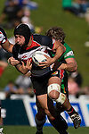 DJ Forbes tries to break out of the tackle near the tryline. Air New Zealand Cup rugby game between the Counties Manukau Steelers & Manawatu Turbos, played at Growers Stadium Pukekohe on Staurday September 20th 2008..Counties Manukau won 27 - 14 after trailing 14 - 7 at halftime.