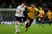 Pádraig Amond of Newport County and Juan Foyth of Tottenham Hotspur during Tottenham Hotspur vs Newport County, Emirates FA Cup Football at Wembley Stadium on 7th February 2018