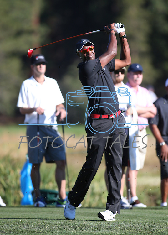 NFL Hall of Fame wide receiver Jerry Rice plays in a practice round in the American Century Celeb-Am Tournament at Edgewood Tahoe in Stateline, Nev., on Thursday, July 18, 2013.<br /> Photo by Cathleen Allison