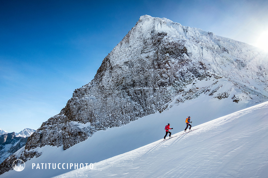 Ski touring beneath the Schwarzhorn, above Rosenlaui, Switzerland