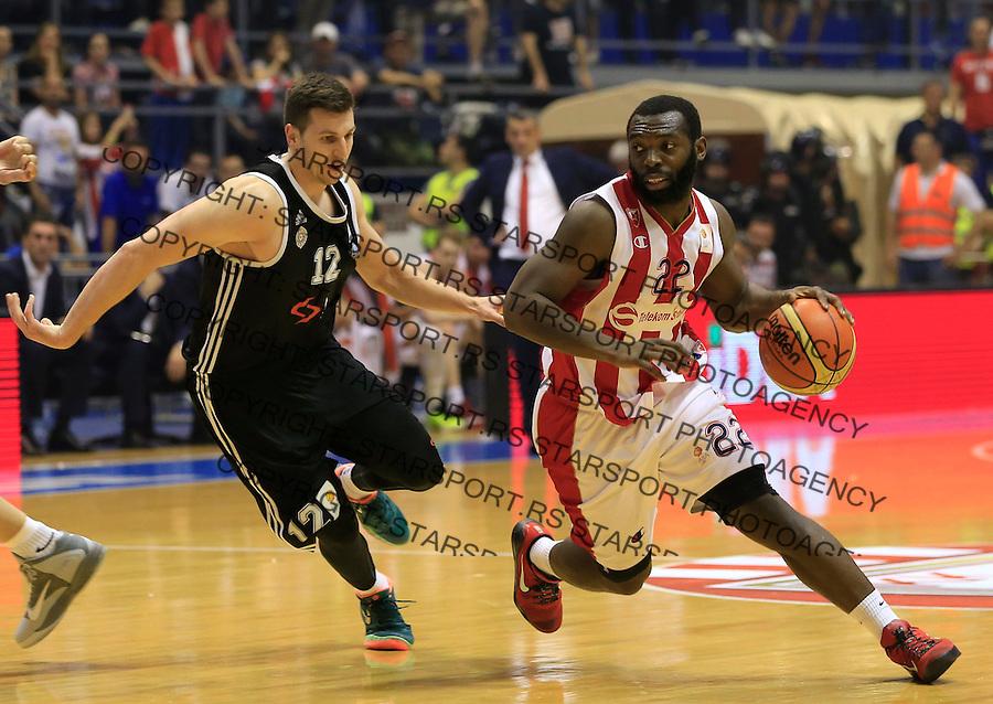 Kosarka Kosarkaska Liga Srbije season 2014-2015<br /> Crvena Zvezda v Partizan<br /> Charles Jenkins (R) and Dragan Milosavljevic<br /> Belgrade, 05.17.2015.<br /> foto: Srdjan Stevanovic/Starsportphoto &copy;