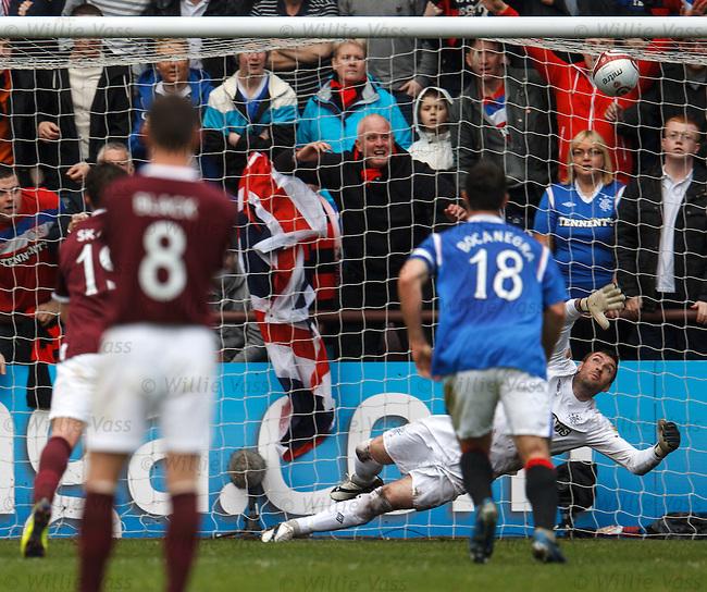 Allan McGregor watches as Craig Beattie's penalty kick crashes off the bar
