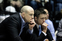 STATE COLLEGE, PA - JANUARY 25: Head coach Cael Sanderson (L) of the Penn State Nittany Lions sits with his brother and assistant head coach Cody Sanderson during a match against the Minnesota Golden Gophers on January 25, 2015 at Recreation Hall on the campus of Penn State University in State College, Pennsylvania. Minnesota won 17-16. (Photo by Hunter Martin/Getty Images) *** Local Caption *** Cael Sanderson;Cody Sanderson