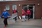 Turkiyemspor Berlin 3 BSC Rehberge 0, 22/11/2015. Willy-Kressmann-Stadion, Berlin Landesliga. Players of Turkiyemspor Berlin emerging from the dressing rooms at the club's ground the Willy-Kressmann-Stadion before they played BSC Rehberge in a Berlin Landesliga fixture which they won 3-0. The club was formed in 1978 to represent members of Berlin's large Turkish community and achieved several promotions and local cup wins throughout the first 15 years of their existence. Since then, financial problems have led to successive relegations and they now find themselves in the city's second division. Photo by Colin McPherson.