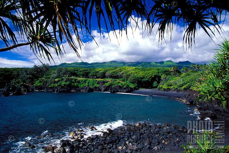 Black sand beach at Wainapanapa State Park, Hana, Maui.