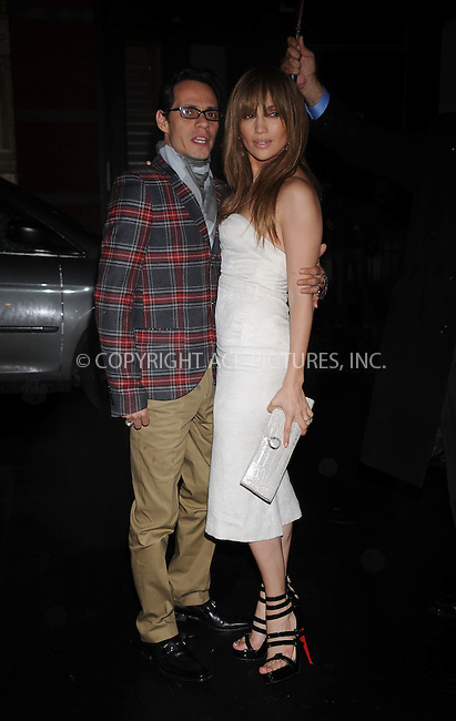WWW.ACEPIXS.COM . . . . . ....April 1 2009, New York City....Singers Jennifer Lopez and Marc Anthony at the Topshop dinner to celebrate the flagship store opening at Balthazar on April 1, 2009 in New York City.....Please byline: KRISTIN CALLAHAN - ACEPIXS.COM.. . . . . . ..Ace Pictures, Inc:  ..tel: (212) 243 8787 or (646) 769 0430..e-mail: info@acepixs.com..web: http://www.acepixs.com