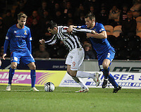 Steven Thompson being pressured by Gary Warren watched by Andrew Shinnie in the St Mirren v Inverness Caledonian Thistle Clydesdale Bank Scottish Premier League match played at St Mirren Park, Paisley on 30.1.13.